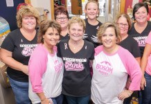 Sue Lamb (center) with her Framed in Pink Committee Members