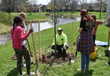 Jamestown Community College students helped plant trees on campus during last year's Arbor Day celebration.