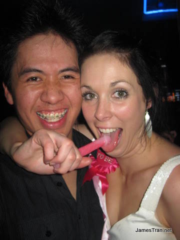 Melbas Nightclub Gold Coast - With the bride and her favourite toy. She is also holding a penis thing.