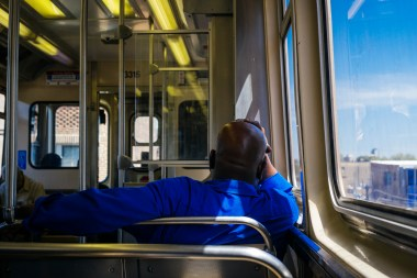 Riding the Brown Line. Chicago IL, 2015