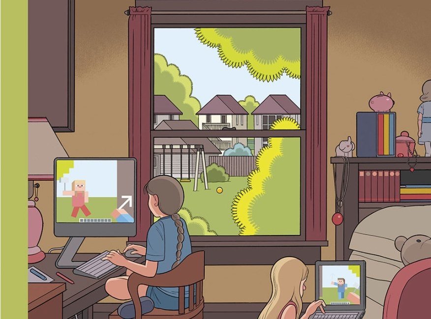 Minecraft Playdate on New Yorker Cover