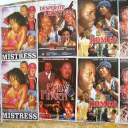 nollywood posters on a wall