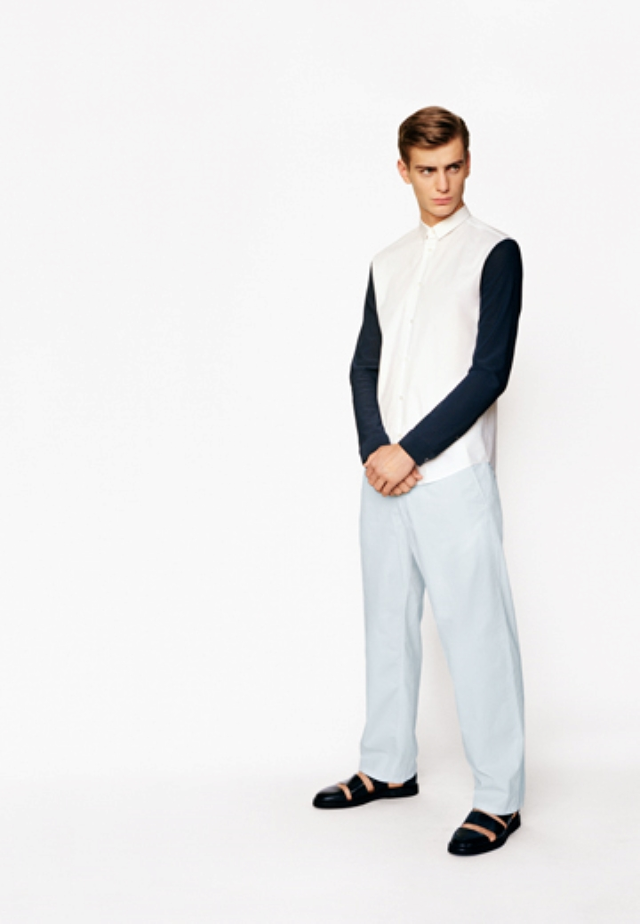 cos menswear ss lookbook hum white shirt contrasting sleeves cords sandals