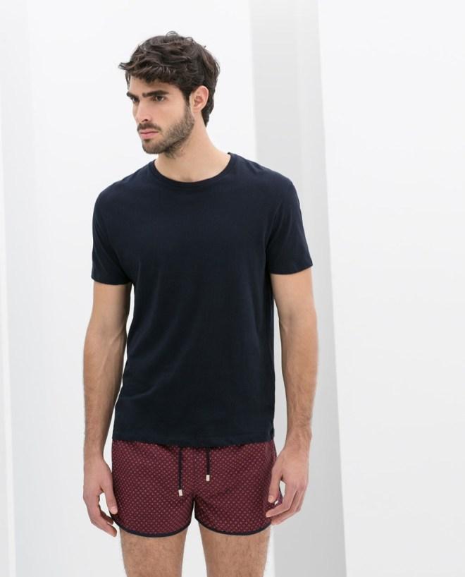 Zara Menswear S/S14 Swimwear Lookbook black basic t shirt printed swimshorts