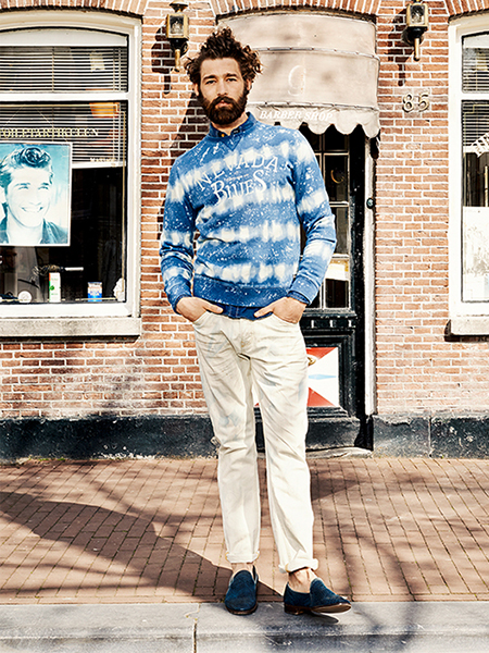 Scotch & Soda S/S14 Amsterdam Blauw Denim Collection denim print sweater chino khaki jeans blue leather loafer s