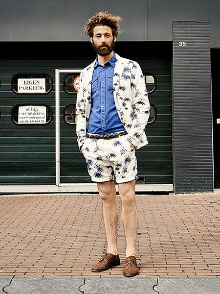 Scotch & Soda S/S14 Amsterdam Blauw Denim Collection Printed Denim Short Suit Blue Denim Shirt Brown Leather Brogues