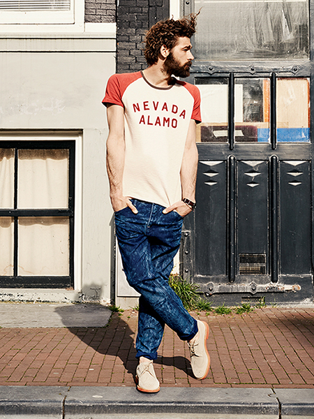 Scotch & Soda S/S14 Amsterdam Blauw Denim Collection nevada slogan varsity top blue acid wash jeans suede brogues