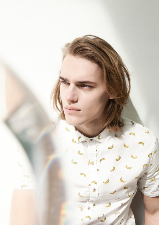 Bershka 'April' Menswear S/S14 Lookbook Update. Banana print shirt