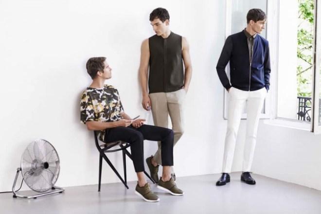 Zara Man S/S14 'May' Lookbook Update. camouflage print waistcoat bomber jacket khaki trainers