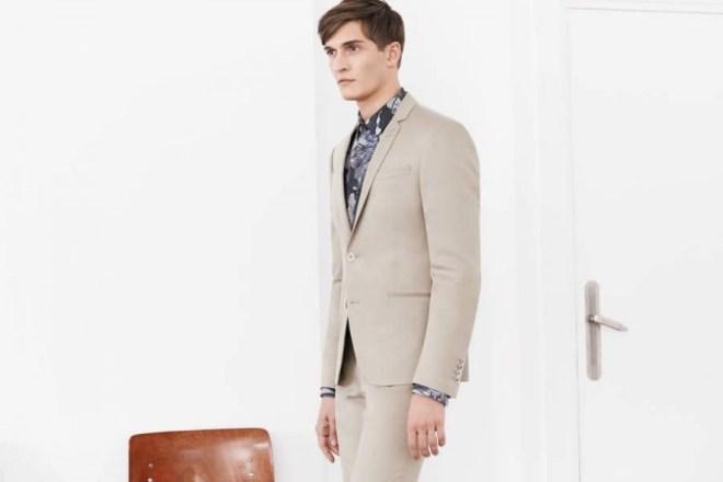 Zara Man S/S14 'May' Lookbook Update. cream linen suit blue printed shirt