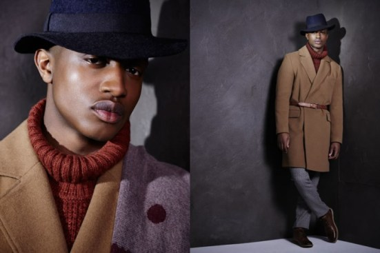 River Island A/W14 Menswear Lookbook long camel overcoat belt orange roll neck jumper hat shoes wool thick layering.