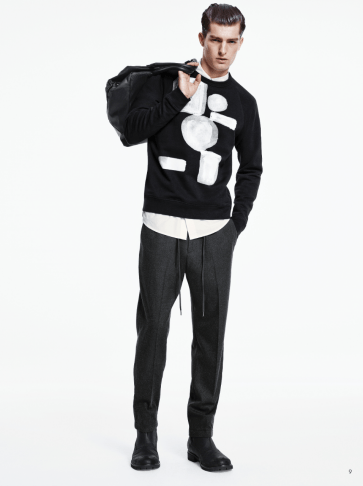 H&M Man Trend A/W14 Lookbook, 'All Black Everything'. knitwear jumper wool leather shirt black model lookbook collection