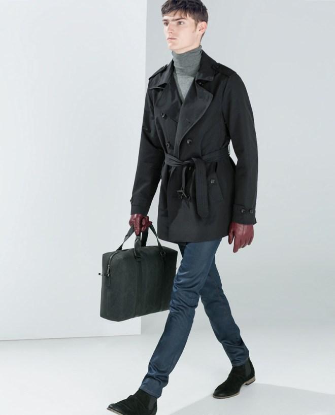 Zara Pre Fall 2014 Menswear Lookbook black double breasted jacket grey turtleneck jumper black holdall burgundy leather gloves