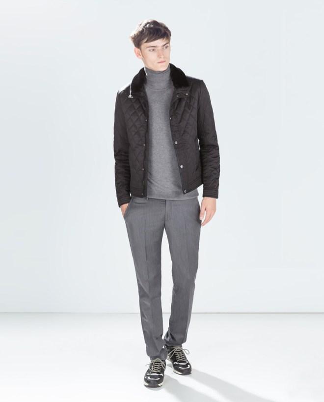 Zara Pre Fall 2014 Menswear Lookbook quilted jacket grey turtleneck jumper grey wool blend trousers