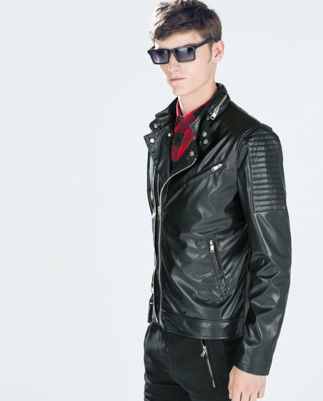 Zara Pre Fall 2014 Menswear Lookbook red and black gingham shirt black leather jacket