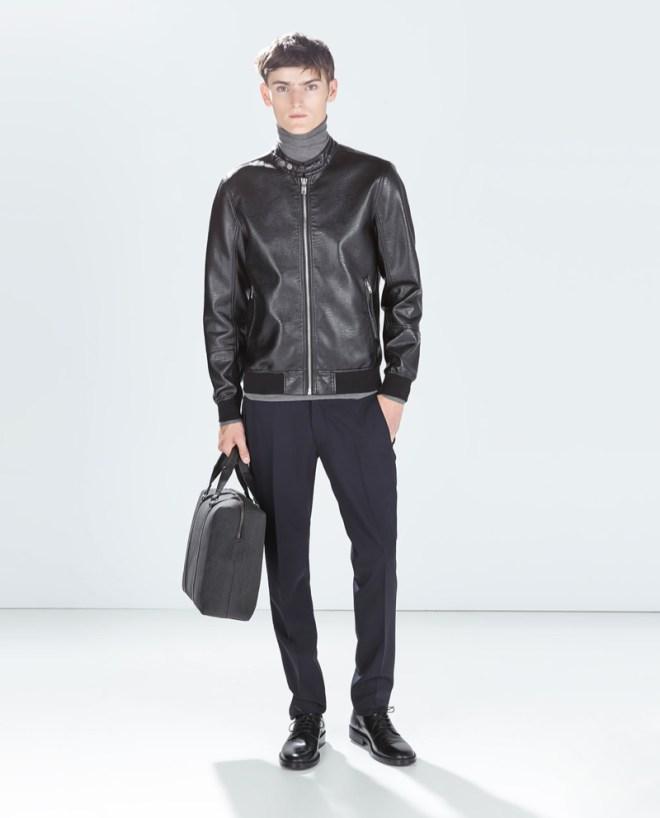 Zara Pre Fall 2014 Menswear Lookbook black leather jacket black leather holdall