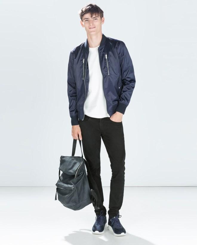 Zara Pre Fall 2014 Menswear Lookbook Satin varsity jacket black leather backpack holdall black denim jeans