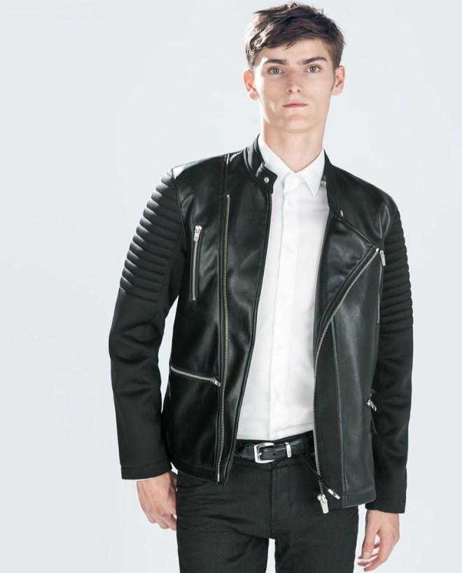 Zara Pre Fall 2014 Menswear Lookbook black leather jacket white shirt menswear mensfashion lookbook colection AW14
