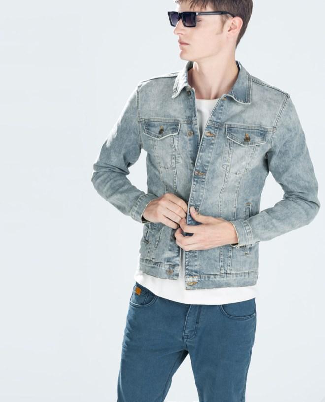 Zara Pre Fall 2014 Menswear Lookbook denim jacket denim chinos white top accessories menswear mensfashion zara