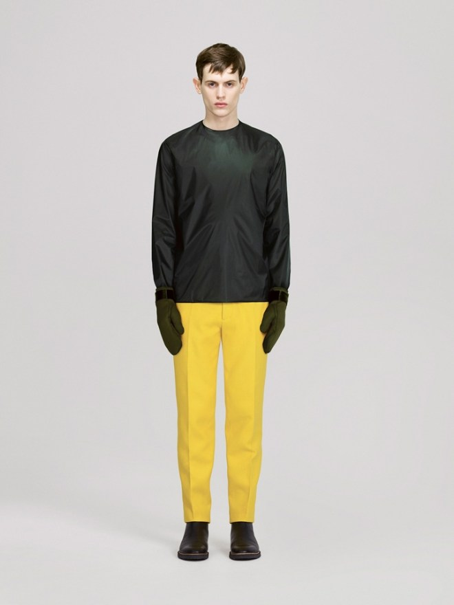 COS A/W14 Menswear Lookbook cos neoprene wet look sweater yellow jeans