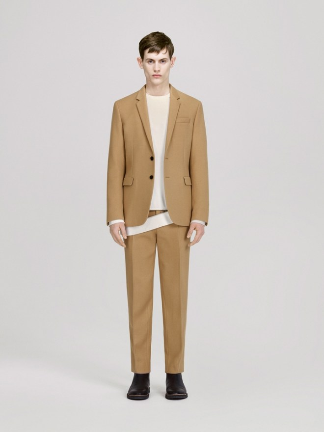 COS A/W14 Menswear Lookbook H&M highstreet menswear mensfashion camel wool blend suit white shirt white top formal tailoring