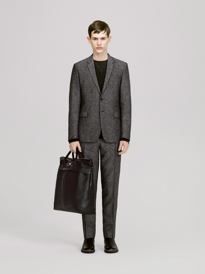 COS A/W14 Menswear Lookbook black and white speck grey wool blend suit tailoring leather holdall bag accessories