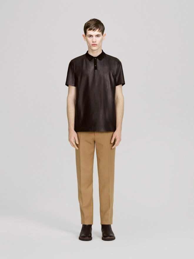 COS A/W14 Menswear Lookbook camel formal suiting trousers sheer mesh pleather leather top polo shirt