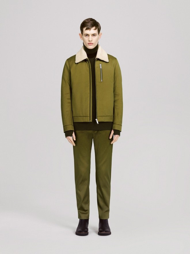 COS A/W14 Menswear Lookbook like green fur trim shearling lined aviator jacket