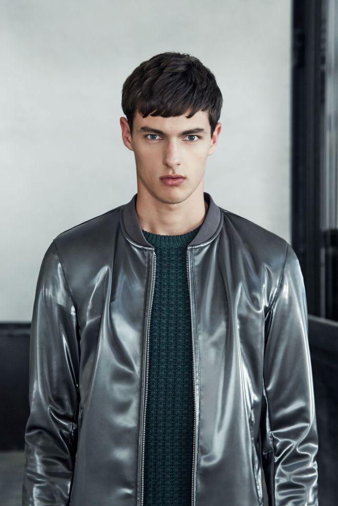 Zara A/W14 Menswear Lookbook Update metallic bomber jacket forrest green fisherman knitwear jumper