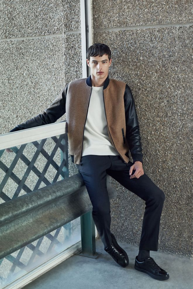 Zara A/W14 Menswear Lookbook Update leather sleeve varsity bomber jacket white top black fitted tailored trousers