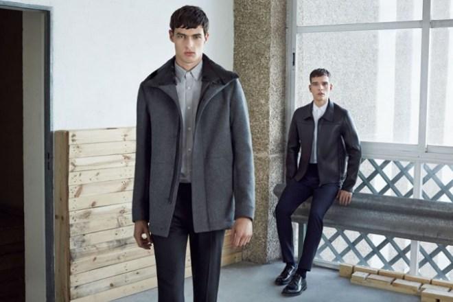 Zara A/W14 Menswear Lookbook Update grey knitted bomber coat jacket style fashion lookbook collection