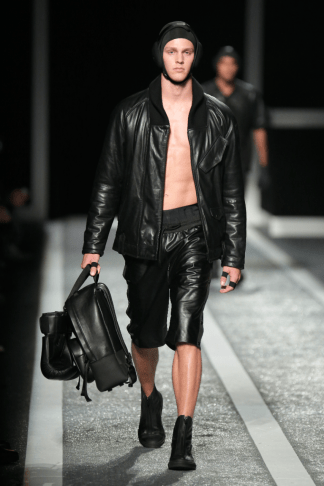 Alexander Wang For H&M Menswear Collection #AlexanderWangXHM leather jacket leather trousers fashion style leather backpack bag accessories