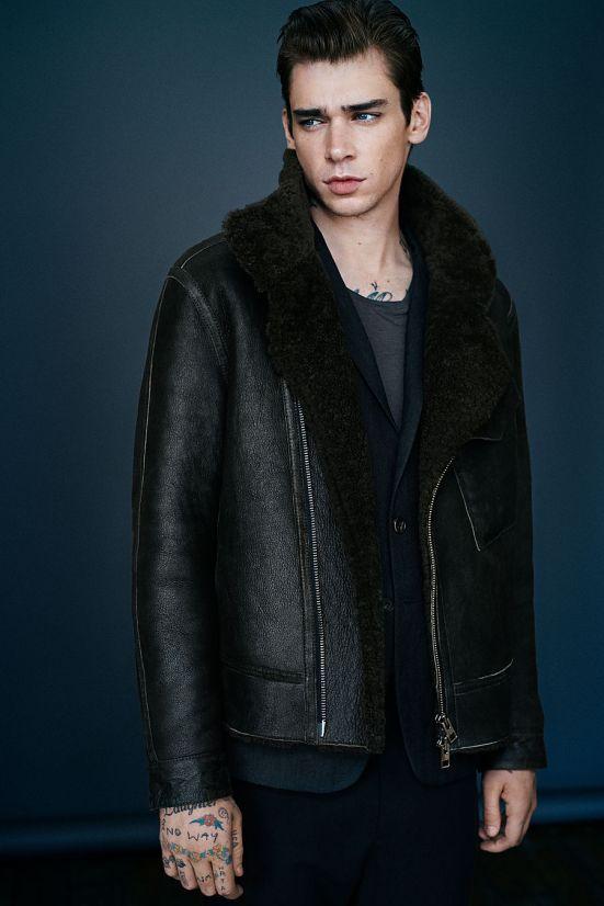 Allsaints October A/W14 Menswear lookbook. allsaints menswear leather jacket shearling denim leather coat jacket outerwear outfit style fashion