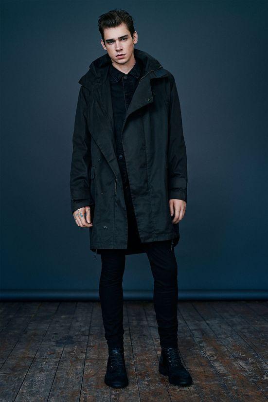 Allsaints October A/W14 Menswear lookbook. parka denim black skinnies leather denim jacket