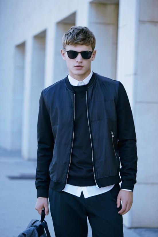 HE By Mango A/W14 November Lookbook Update. mens fashion black zip bomber jacket fashion style street style Scandinavian zara menswear mensfashion