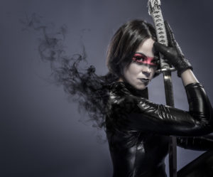 Ingrid Brunette with katana sword, fineart concept