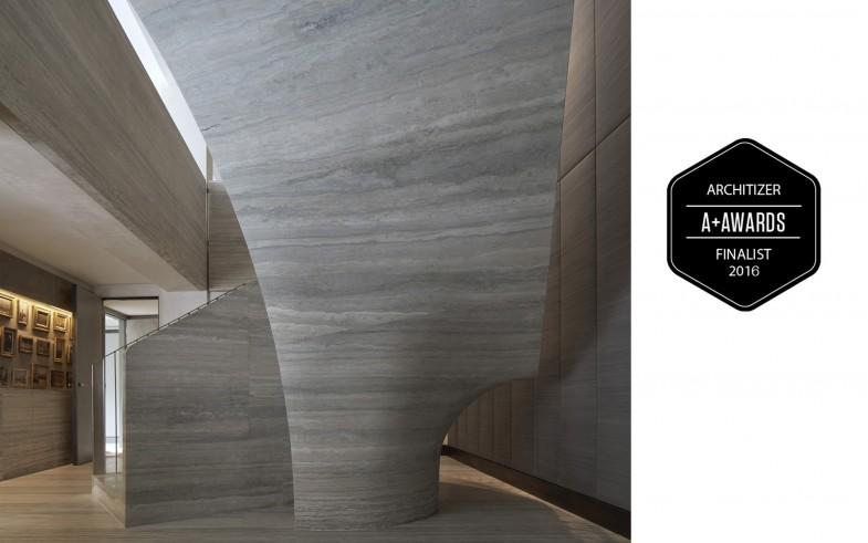 Jamie-Fobert-Architects- Travertine-stair-Architizer-Awards-finalist-luxury-apartment- beautiful-stone-stair