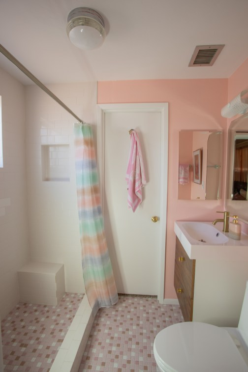 pink midcentury bathroom