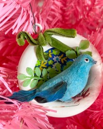 Vintage blue bird ornament