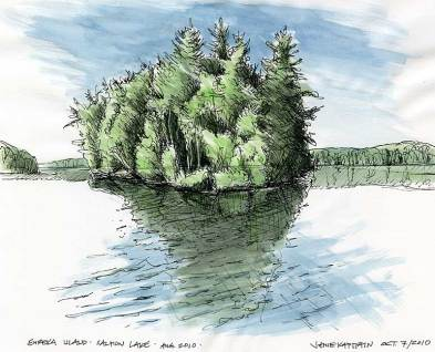 Eureka Island, Salmon Lake (2010) by Jamie Kapitain. Ink and watercolor sketch.