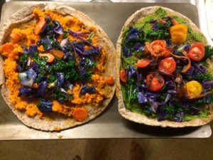 carrot pesto pizza
