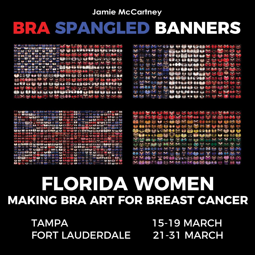 Making national flags from images of women in bras in Tampa and Fort Lauderdale