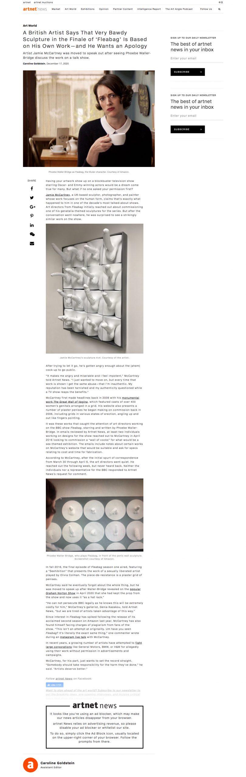 Artnet News on Fleabag stealing Jamie McCartney's work