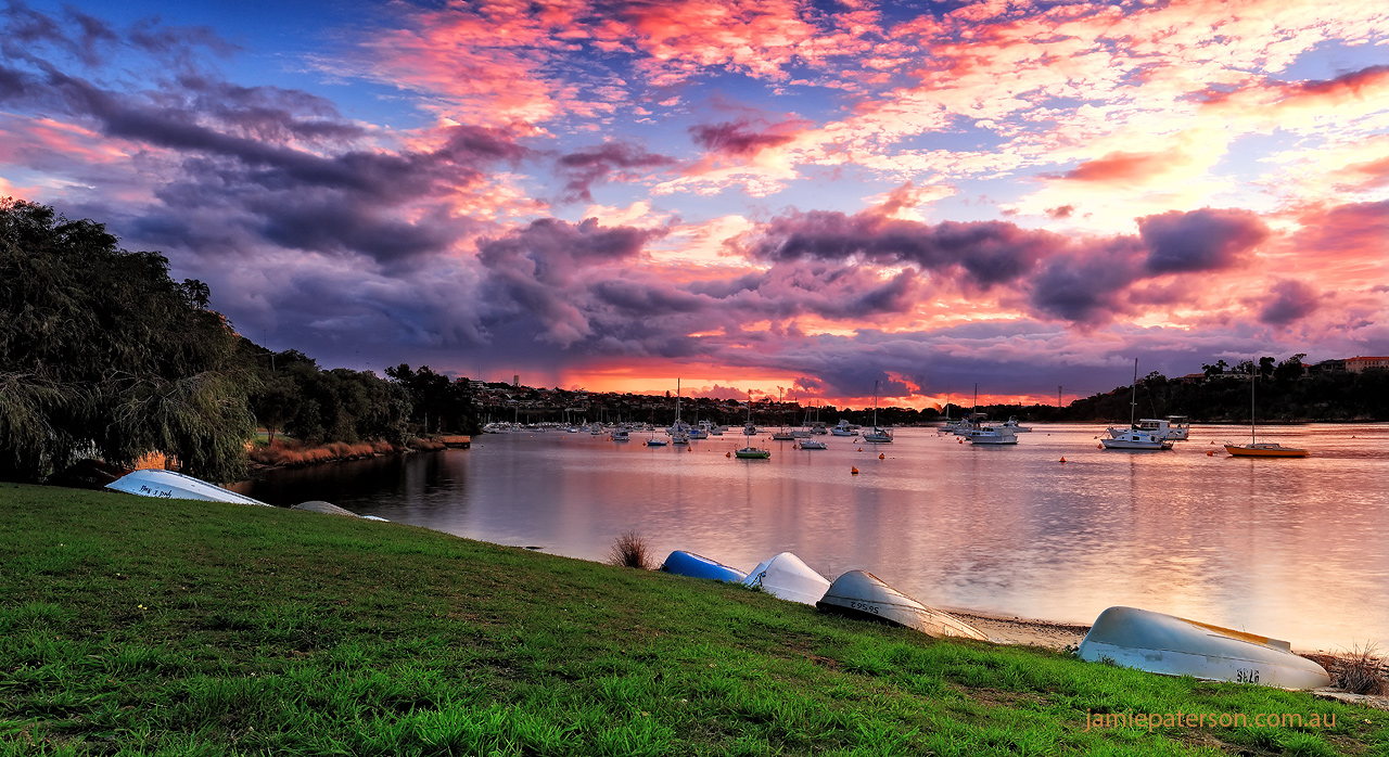 perth sunset, bicton, boats, seascape photography, australian landscape photography
