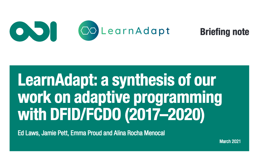 LearnAdapt: a synthesis of our work on adaptive programming with DFID/FCDO (2017–2020)