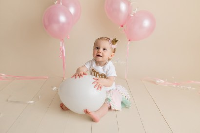 First Birthday photo with balloons