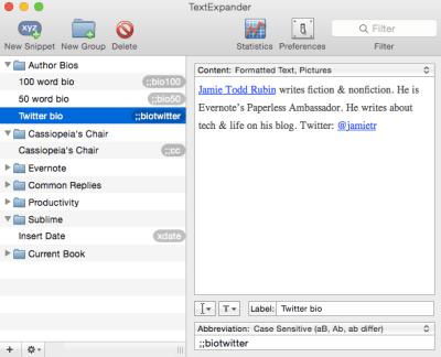 TextExpander bios