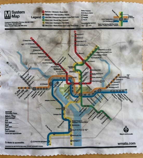 Microfiber map of the DC Metro System, dirty.