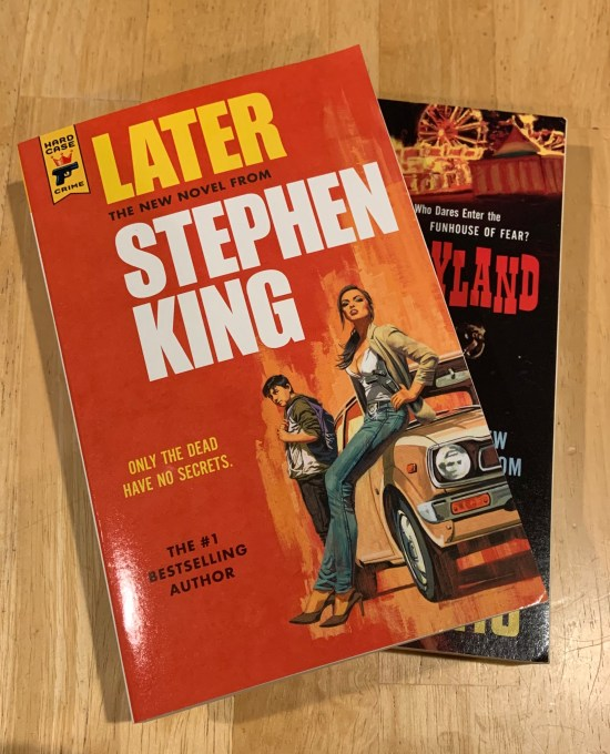 My Hard Case Crime trade paper editions of Later and Joyland by Stephen King