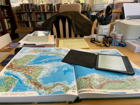 Following Paul Theroux through Central America--with my Atlas spread on my desk.